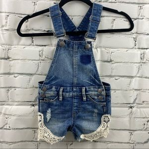 Silver Nisha girls shorts overalls w/ lace detail